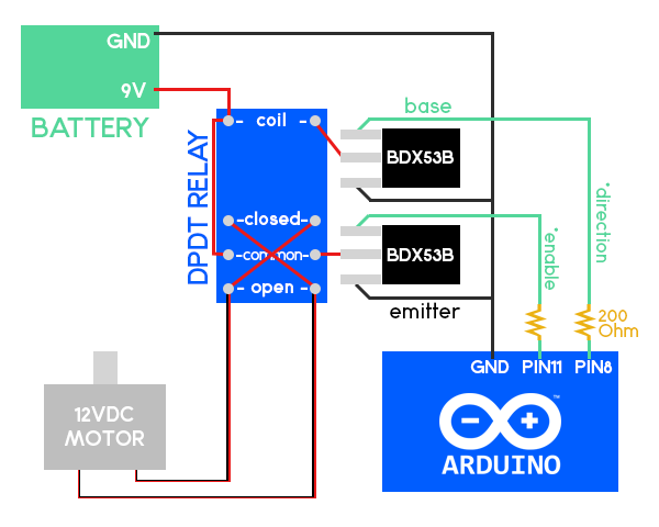 Schema for a build of a DC Motor speed and direction controller using an Arduino and a relay