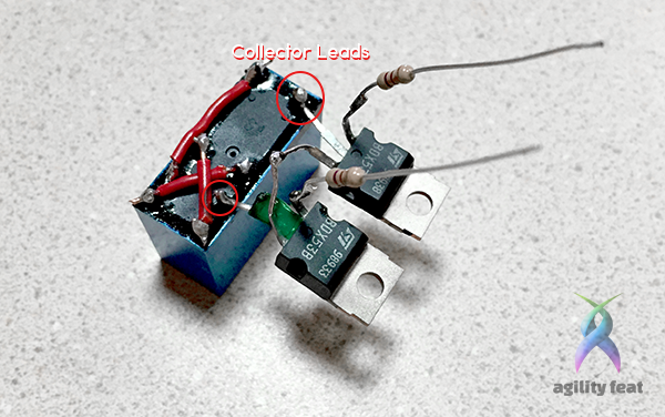 Picture showing how to hook up collector leads from transistors to polarity reversal relay switch
