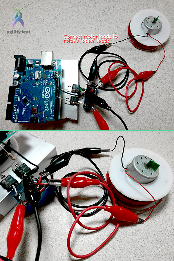 Picture showing how to connect DC motor to reversible relay switch and Arduino